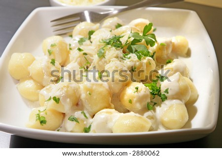 a withe bowl of italian gnocchi with four cheese sauce and grated cheese