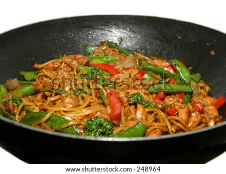 A wok full of noodles...