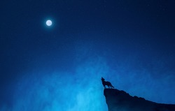 A wolf howling while standing at the edge of a rock and looking at the full moon in the blue sky