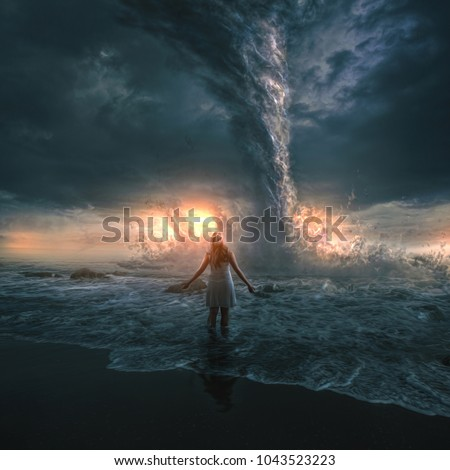 A woman bravely stands in front of a large tornado over the ocean. 3D digital illustration
