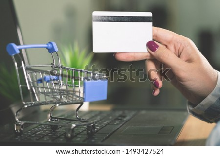 A woman buys goods in an online store. Female hands is holding a credit card on a laptop background.