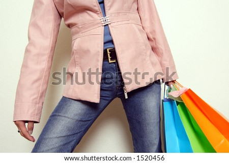 A woman carrying shopping bags