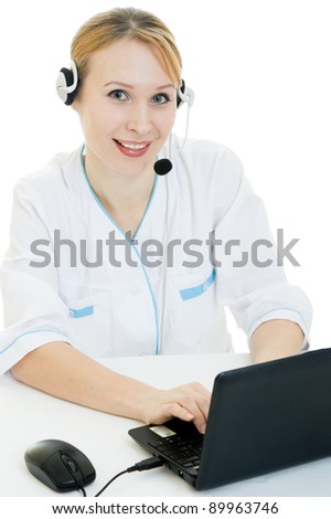 A woman doctor operator on a white background.