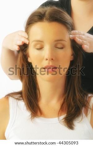 a woman enjoying beauty therapy