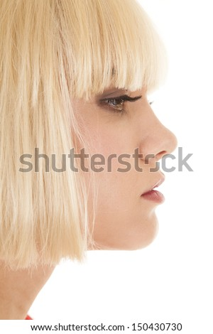 A woman face profile close up head