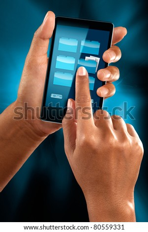 a woman hand checking folder on a mobile phone