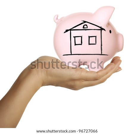 A woman hand holding a piggy bank. Isolated on white - stock photo
