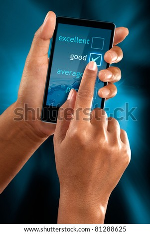 a woman hands select a option on a mobile phone