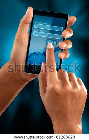 a woman hands sign as member on a mobile phone