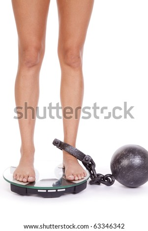 A woman has a ball and chain on her leg and standing on the scales.