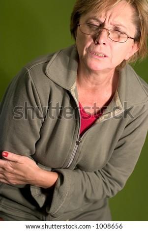 a woman having stomachache