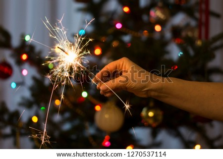 A woman holding a sparkler - New Year celebration. #1270537114