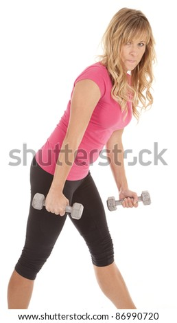 A woman holding her weights getting ready to work out her arms.