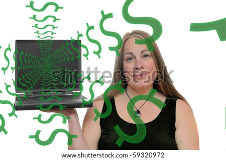 A woman holding up a computer with dollar symbols coming out of the screen