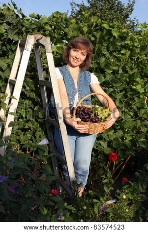 A woman holds a basket of grapes