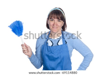 A woman holds up her feather duster before cleaning.  Isolated for designers to use as a design element.
