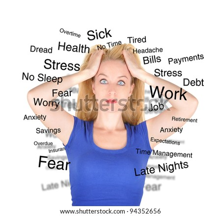 A woman in a blue shirt is isolated on a white background and has text describing her worries and fears from work to debt.