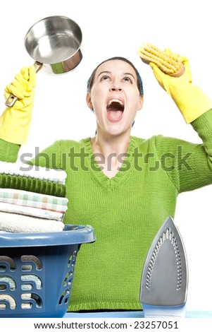 A woman in a domestic role screaming - on white background