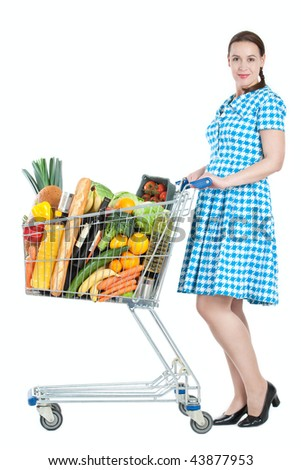 A woman in a housewife role with a full shopping cart - on a white background