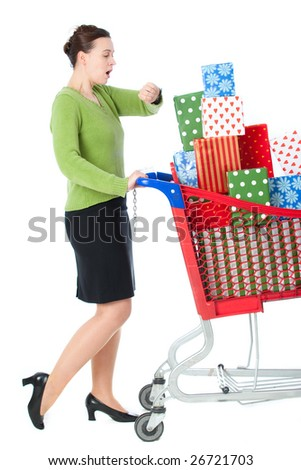 A woman in a shopping scenario late for something and under stress