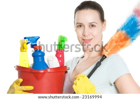 A woman in domestic household role on white