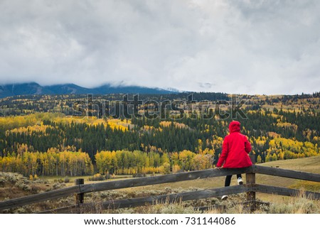 A woman in red jacket sat on the wooden fence at the look out with the view of fall foliage autumn season of yellow Aspen and pine trees  in a cloudy stormy sky.