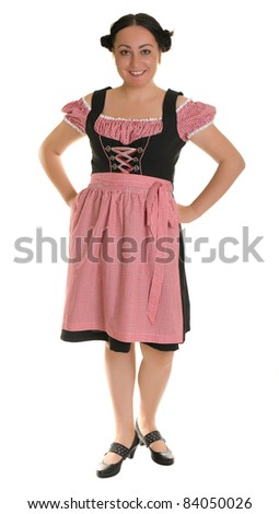 A woman in traditional Bavarian dress - Dirndl.