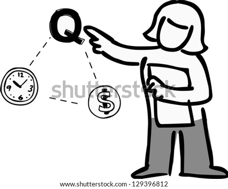 A woman indicating quality in Time Quality and Money relation.