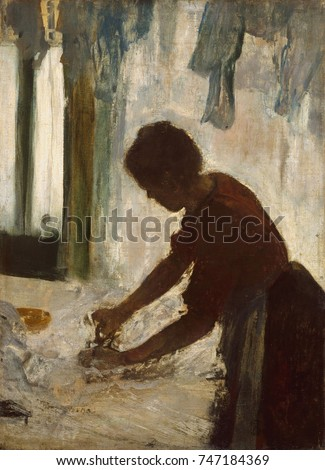 A Woman Ironing, by Edgar Degas, 1873, French impressionist painting, oil on canvas. As with dancers, Degas painted the repetitive, specialized gestures made by laundresses
