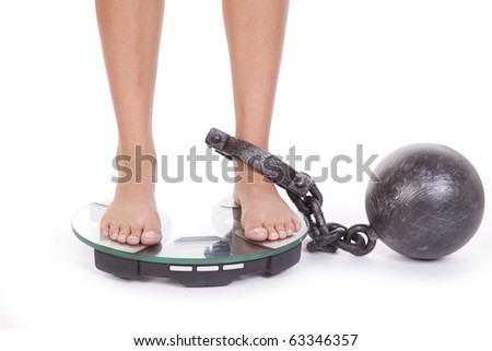A woman is chained to the bathroom scales.