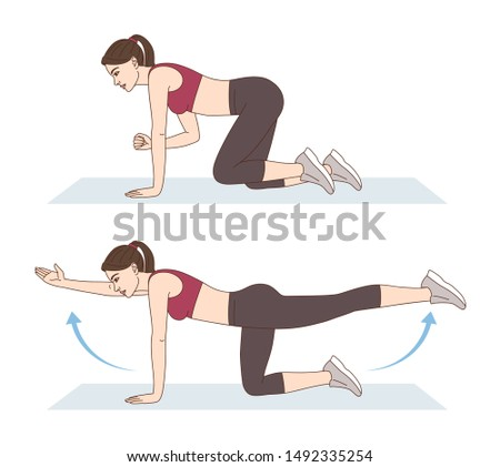 A woman is doing sports exercises. Bird dog exercise. Workout for the buttocks, lumbar and hips. Fitness for weight loss.