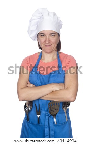 A woman is dressed in cooking clothing and isolated on white