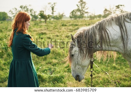 A woman is feeding a horse in the field