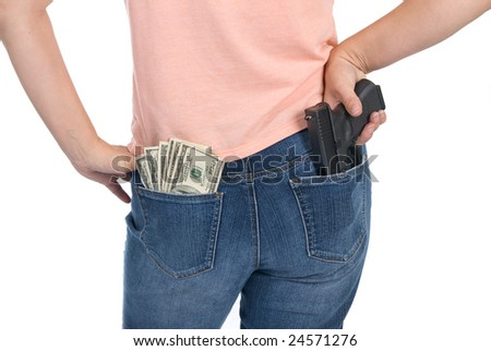 A woman is prepared to defend her cash with a semi-automatic handgun.