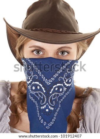 A woman is wearing a bandanna and looking straight forward.