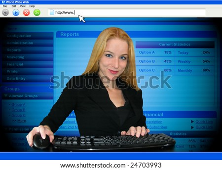 A woman is working on a computer and the point of view is through the monitor. - stock photo