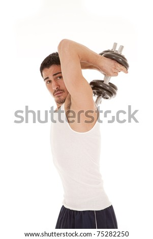 A woman is working out holding weights behind his back.
