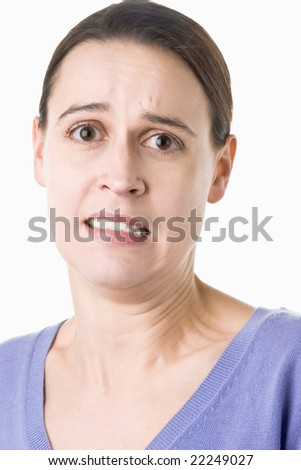 A woman on white with an exaggerated anxious expression