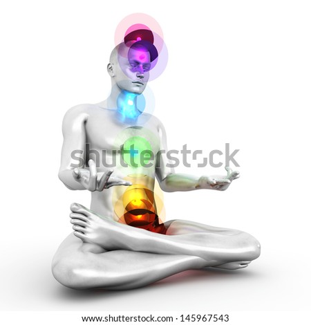 A woman performing a full chakra meditation 3D rendered illustration