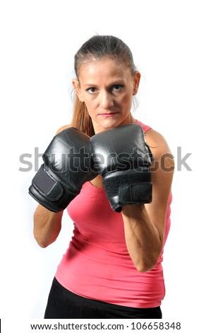 a woman plays boxing