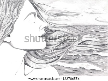 A woman's face with hair streaming in wind on a ocean's background #122706556