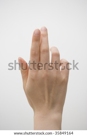 A woman's hand isolated on white