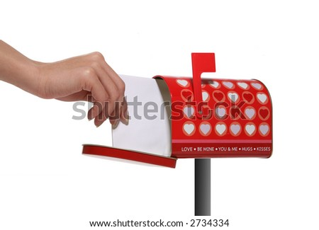 A woman's hand reaching in to get her Valentines mail