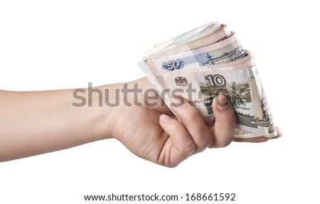 A woman's hand with money