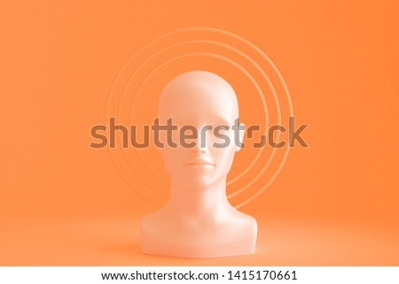 A woman's head with Golden circles around it depicting an aura. Concept art on the topic of religion. 3D illustration