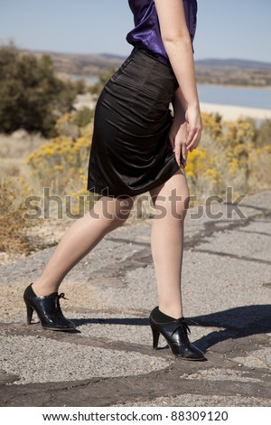 Perfect Sexy Young Woman Lifting Skirt Stock Footage Video 8001088