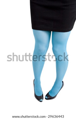 A woman's legs in turquoise stockings, shot on white background