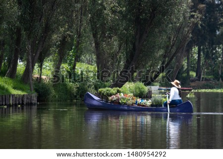 A woman sells plants and flowers from a blue canoe on the canals at Xochimilco, in southern Mexico City.