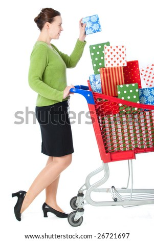 A woman shopping for gifts on a white background