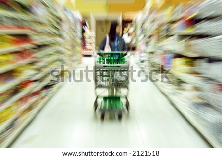 A woman shopping in a grocery store/supermarket - blurred